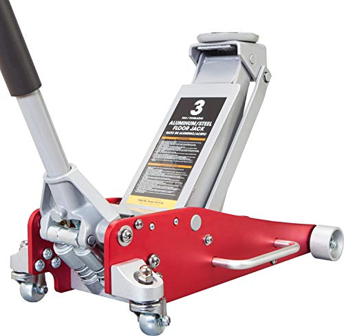 BIG RED AT830011LR Torin Hydraulic Low Profile Aluminum and Steel Racing Floor Jack with Dual Piston Quick Lift Pump, 3 Ton (6,000 lb) Capacity, Red