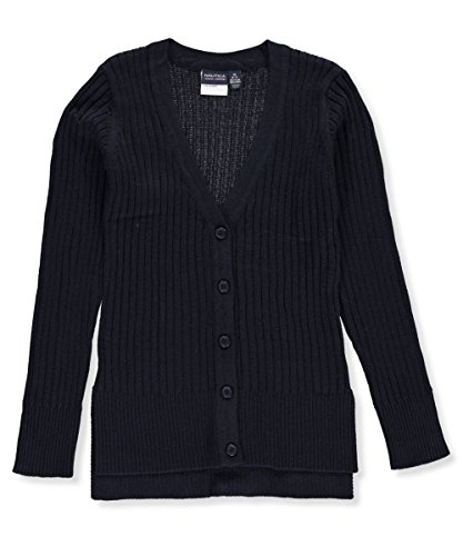 Nautica Ribbed Sweater (Nautica Big Girls' Ribbed Boyfriend Sweater - navy, 8-10)