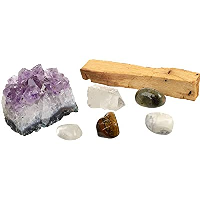 BE HERE NOW Crystals For Mindfulness/7 Piece Crystal Healing Set Including Amethyst Cluster, Raw & Tumbled Stones, Guidance, Palo Santo For Reiki, Meditation, Wellness, Spiritual Journey
