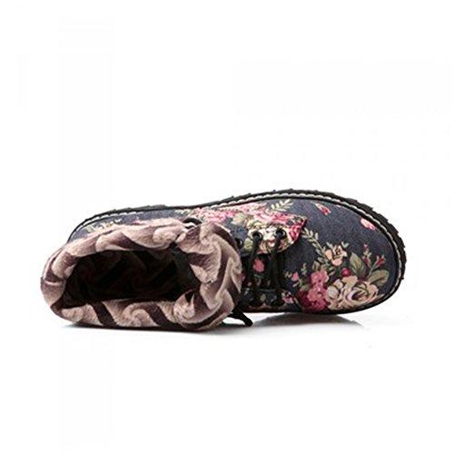 Btrada Donna Stivali Di Cotone Stivali Fiore Slip On Flat Tacco Stivaletti Stringate Scarpe Casual Blu Scuro