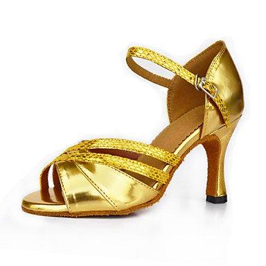 XIAMUO Anpassbare Damen Tanz Schuhe Satin Satin Latin Sandalen entzündete Ferse Praxis Anfänger professionelle Indoor Outdoor Performance Gold, Gold, uns 4-4,5/EU 34/ UK 2-2,5/CN33