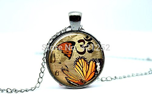 Pretty Lee 2015 Fashion Butterfly Om Necklace Zen Jewelry Yoga Charm Pendant Glass Cabochon Dome Pendant Necklace Christmas (Thomas Kinkade Jewelry)