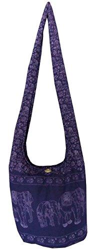 Handgefertigte Hippie-Umhängetasche/Hobo-Tasche/Ethno-Tasche für Frauen, Thai Yam, Elefantenmuster, von mittlerer Größe Violett - Dunkelviolett
