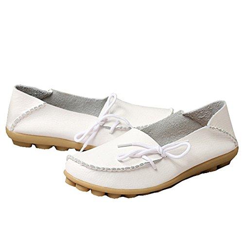 fisca Mujer Causal Cinturón Moccasins Mocasines Zapatos de Plano Blanco - blanco