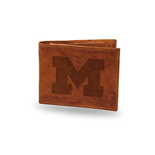 NCAA Michigan Wolverines Embossed Genuine Leather Billfold Wallet - Leather Michigan Wolverines Wallet