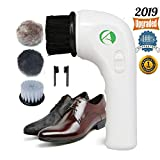 Electric Shoe Polisher,Auhko Portable Handheld Rechargeable Leather Shoe Cleaning Brush Kit Leather Care Tool for Leather Shoes, Bags, Car Seat, Sofa and More (White)