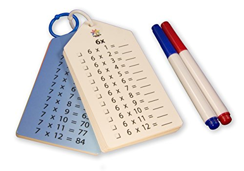Wipe Clean Times Tables Multiplication Flash Cards 0-12, Key Rings, Markers and Bonus.