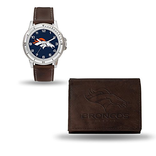 NFL Denver Broncos Men's Watch and Wallet Set, Brown, 7.5 x 4.25 x 2.75-Inch