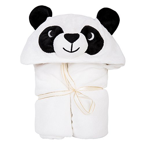 Vaava Baby Luxe Panda Hooded Baby Towel | Silky Soft |100% Bamboo| 35 x 30 inch with 2 Layer | Bonus Washcloth