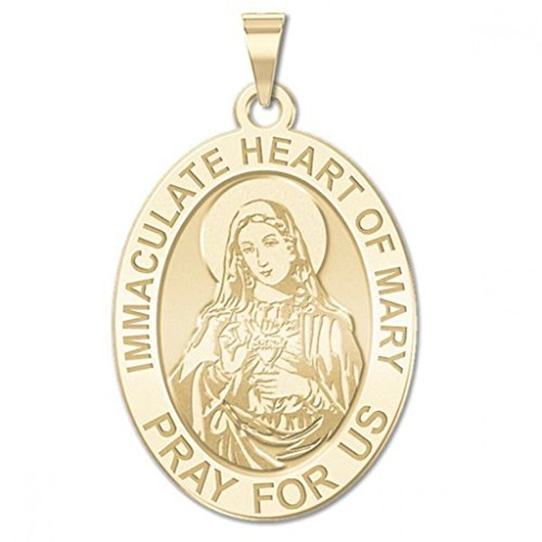 PicturesOnGold.com Immaculate Heart of Mary Oval Religious Medal Color - 1/2 X 2/3 Inch Size of Dime, Sterling Silver