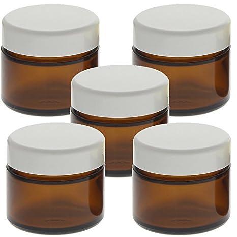 Braun Glas-Tiegel 50ml mit Deckel Weiß, Leere Kosmetex Creme Glas-Dose, Salbentiegel, Kosmetik-Dose aus Braunglas, Braun - Weiß, 3 Stück Braun - Weiß 3 Stück