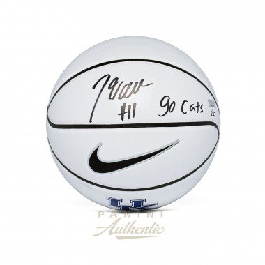 "John Wall Autographed Nike University of Kentucky White Panel Basketball with ""Go Cats"" Inscription PANINI LE 22"