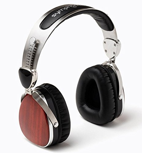 - Symphonized Wraith Premium Genuine Wood On-Ear Headphones with In-Line Microphone, Tangle-Free Noise-Isolating Wired Stereo Earphones with Spare Replacement Cable Included, Cherry Finish