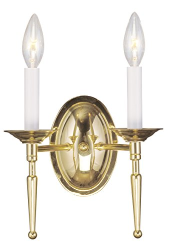 (Livex Lighting 5122-02 Williamsburg 2-Light Wall Sconce, Polished Brass )