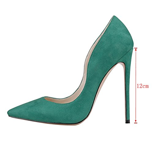 MERUMOTE Womens J-0531 Pointed Toe Thin High Heel Shoes Party Wedding Pumps US 5.5-15 Green-suede VMqbz43