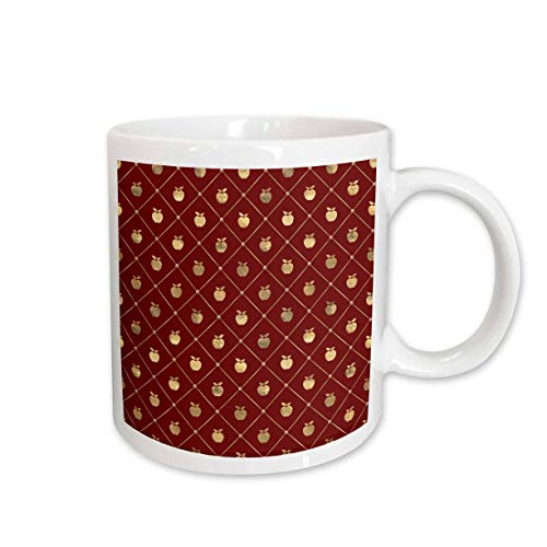 3dRose Anne Marie Baugh - Patterns - Chic Red and Image Of Gold Diamond Shapes With Apples Pattern - 15oz Two-Tone Yellow Mug (mug_317610_13)