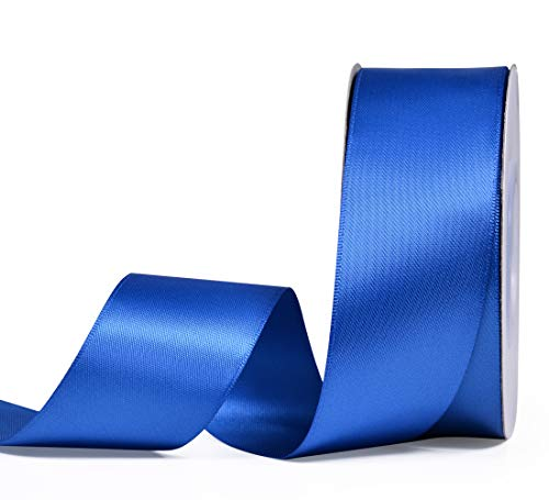 YAMA Double Face Satin Ribbon - 1 1/2 Inch 25 Yards for Gift Wrapping Ribbons Roll, Royal Blue