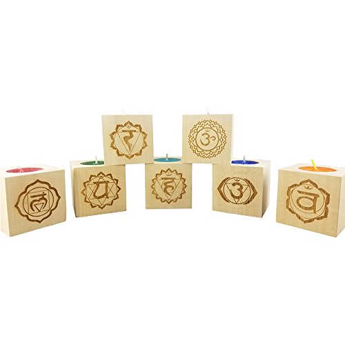 "Gift Set of 7 Chakra Candles Engraved Wood Tea Light Blocks (2.5"") - Yoga Meditation Candle - Rainbow of Light - Color Alignment Candles - Yoga Candles - Chakra Meditation Candles - CHAKRA Balancing by Wedding Collectibles"