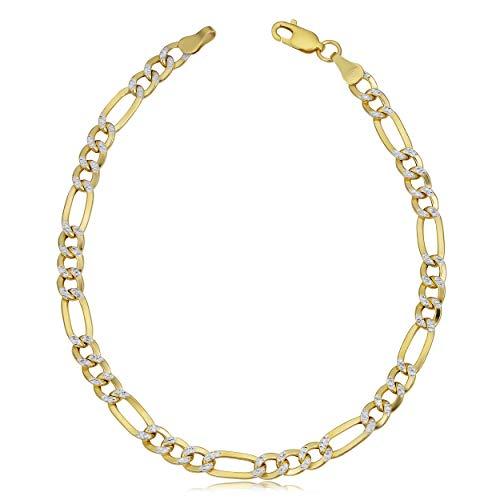 Kooljewelry Mens Womens 10k Yellow Gold White Pave Figaro Bracelet (4.9 mm, 8.5 inch) Made in Italy