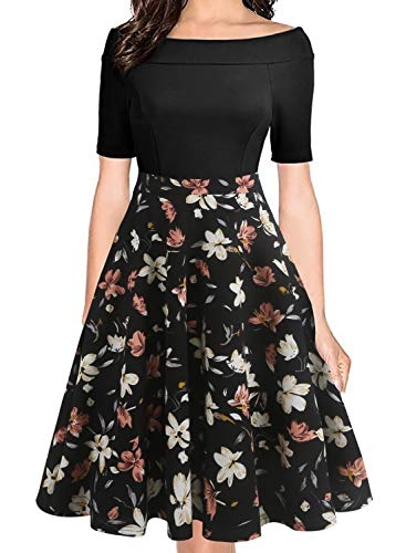 Occasion Party Evening Cocktail - oxiuly Women's Chic Off Shoulder Pockets Casual Floral A-Line Party Cocktail Evening Swing Dress OX232 (M, BK-OWhF)