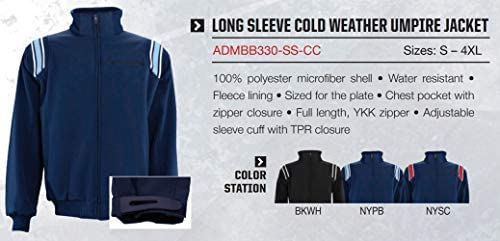 4X-Large Schutt Sports Black//White Adams USA ADMBB330-4XL-BKWH Umpire Cold Weather Uniform Jacket