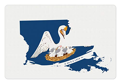 Lunarable Louisiana Pet Mat for Food and Water, Pelican State Flag Map Union Justice Confidence, Rectangle Non-Slip Rubber Mat for Dogs and Cats, Cobalt Blue White Pale Coffee Earth Yellow