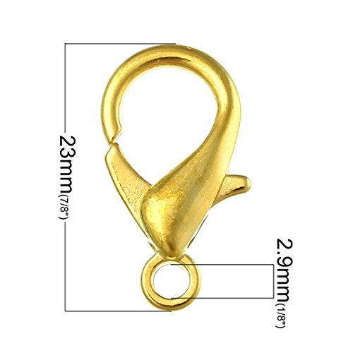 Housweety Bijoux Accessoires -50 Fermoirs Mousqueton Couleur Dore Accessoire Creation DIY 23mmx12mm