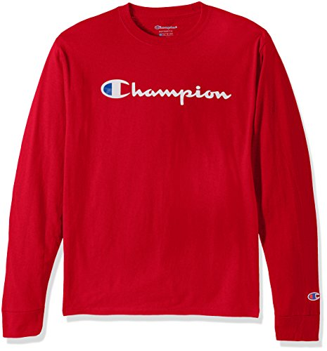 (Champion LIFE Men's Cotton Long Sleeve Tee, Team Red Scarlet/Patriotic Script,)