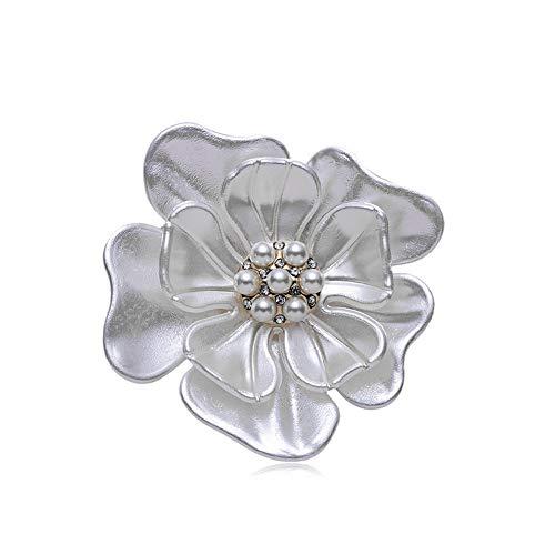 Rhinestone Brooches Big Synthesis Pearl Crystal Flower Leaf Brooch for Women Girls (White)