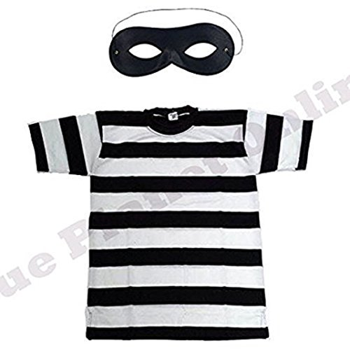 Blue Planet Online Childrens Kids Burglar Robber Thief Striped T Shirt & Eye Mask Fancy Dress Costume