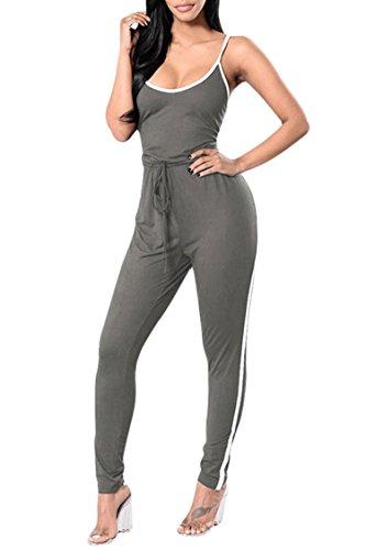 9d623b9ebb65 Veroge Women s Sexy Spaghetti Strap Scoop Neck Bodycon Active Long Pants  Jumpsuits