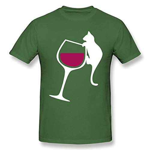 RVFGE Ornery Cat Tipping Wine Glass Funny Crazy Cat Gift Fashion Short Sleeve T -Shirt Moss Green 5XL