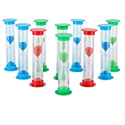 Sand Timer Set (5 Min) Large 10pcs Pack - Colorful Set of Five Minutes Hour Glasses for Kids, Adults - Colors: Blue, Green, Red by Jade Active
