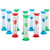 Sand Timer Set (5 Min) Large 10pcs Pack - Colorful Set of Five Minutes Hour Glasses for Kids - Color: Blue, Green, Red