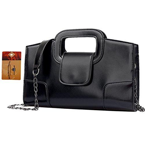 ZLMBAGUS Women Vintage Flap Tote Top Handle Satchel Handbags PU Leather Clutch Purse Casual Messenger Chain Shoulder Crossbody Bag Black