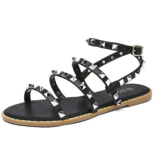 Katliu Women's Flat Sandals Strappy Studded Sandals Gladiator Sandals with Ankle Strap Black