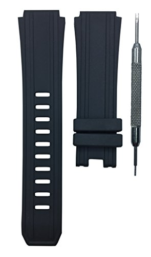 for Luminox Sentry 0200 Series 20x26mm Black Rubber Watch Band Strap | Free Spring Bar Tool