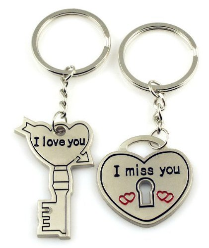 4EVER 'I Love You' Piece Combined Love Heart Lock Key Detachable Couple Keychains (with Gift Box and Greeting Card) Bag Key Rings Key Chains for Valentine's Day Wedding Anniversary (A Pair)