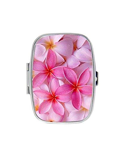 Style Plumeria Flower (Tropical Pink Plumeria Flowers Custom Fashion Style Rectangle Pill Box Silver Jewelry Box,Coin Purse)