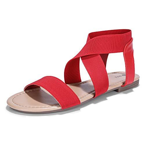 IDIFU Women's Elastic Flat Sandals Criss-Cross Open Toe Ankle Strap Summer Shoes