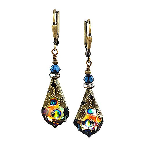 HisJewelsCreations Baroque Crystal Vintage Inspired Leverback Drop Earrings (Blue/Peacock)