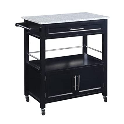 Charmant Cameron Kitchen Cart With Granite Top, Black Finish It Has A Single Drawer,  Shelf