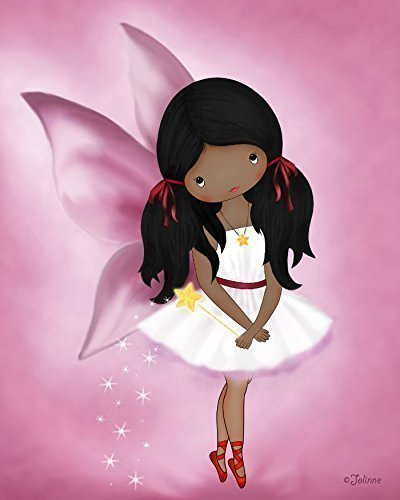 Poster of African American Girl Angel Fairy Kids Bedroom Wall Art Nursery Decoration Dark Skin Black Hair Unframed 8