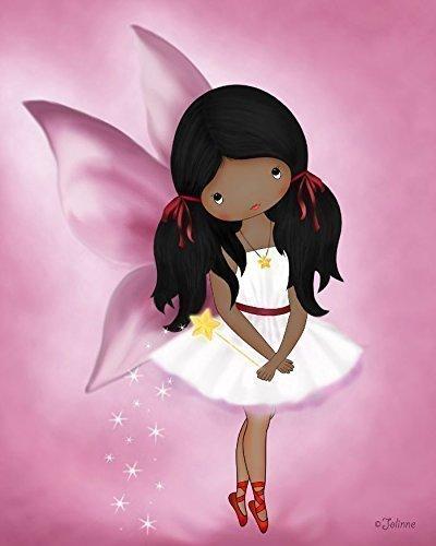 Poster of African American Girl Angel Fairy Kids Bedroom Wall Art Nursery Decoration Dark Skin Black Hair Unframed 8