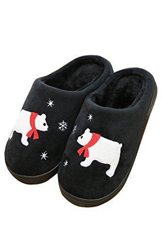 en Outdoor Black Cartoon Doublure Hiver Zinmuwa amp; Indoor Pantoufles Confortable Tfxqw4Z