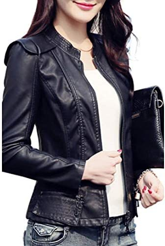 Women`s Weekend Street Chic Spring/Fall Plus Size Short Leather JacketSolid Colored Stand Long Sleeve PU
