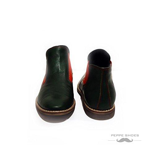 PeppeShoes Modello Garda - Handmade Italiano da Uomo in Pelle Verde Stivali di Chelsea - Vacchetta Pelle Morbido - Scivolare su