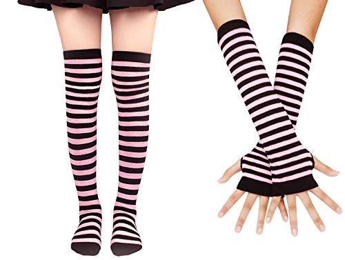 Bienvenu Colorful Rainbow Stripe Leggings Long Knit Gloves Socks Set Party Costume Accessory,Glove Sock Set_Pink ()