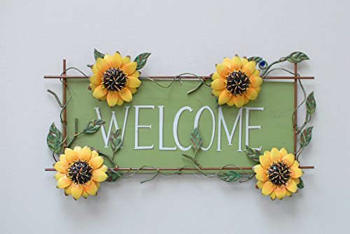 Attraction Design Metal Welcome Friend Sunflower Wall Art (Sunflower Metal Wall Art)