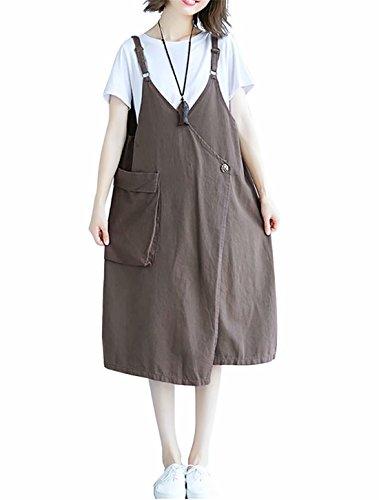単位ふさわしいデコードするEASONDDD ワンピース レディース きれいめ オールインワン サロペット スカート オーバーオール Vネック ロング ヴィンテージ風 おしゃれ 可愛い ゆったり カジュアル 春夏 大きいサイズ